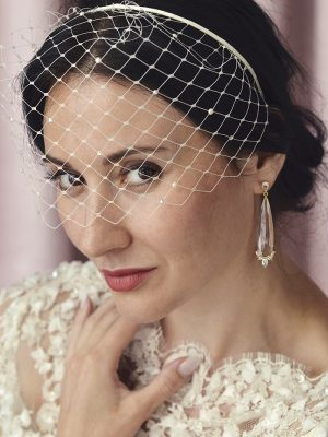 English netting birdcage veil