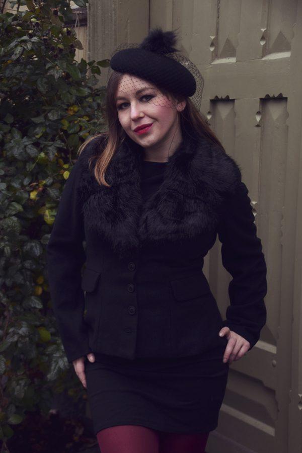 black beret with veil