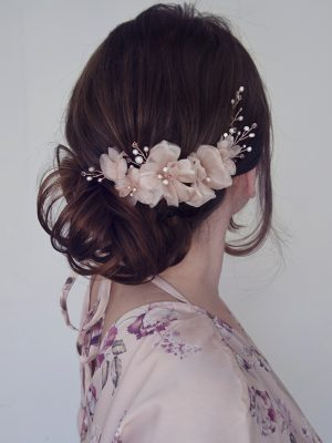 blush pink bridal headpiece