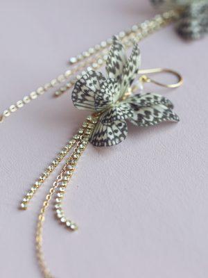 Spotted Silk Butterfly Earrings
