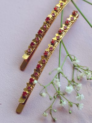 Pink Butterflies -  Swarovski Hair Clips