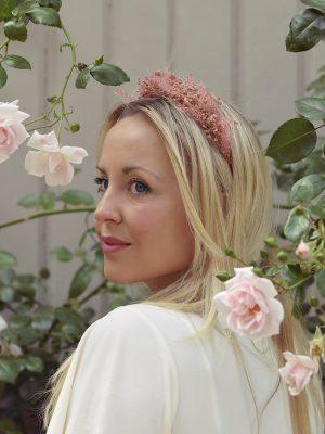 pink wedding headband