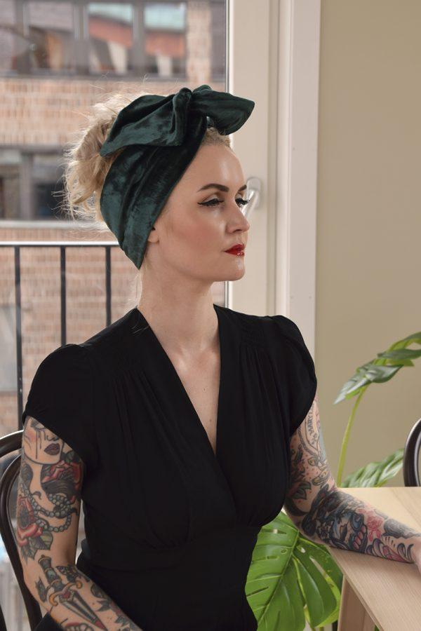 Green velvet turban